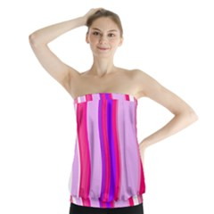 Pink Wave Purple Line Light Strapless Top