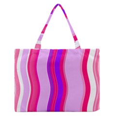 Pink Wave Purple Line Light Medium Zipper Tote Bag by Alisyart
