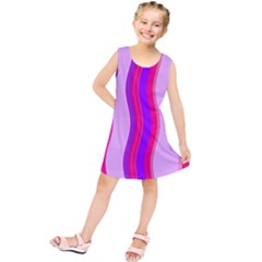 Pink Wave Purple Line Light Kids  Tunic Dress by Alisyart