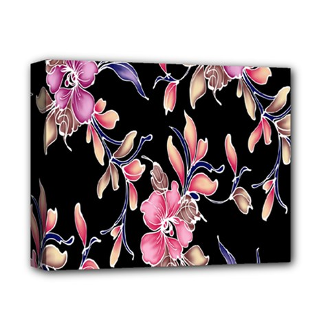 Neon Flowers Rose Sunflower Pink Purple Black Deluxe Canvas 14  X 11  by Alisyart