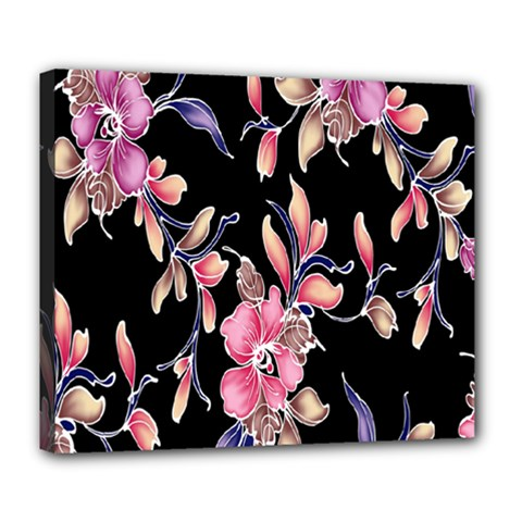 Neon Flowers Rose Sunflower Pink Purple Black Deluxe Canvas 24  X 20