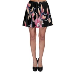 Neon Flowers Rose Sunflower Pink Purple Black Skater Skirt