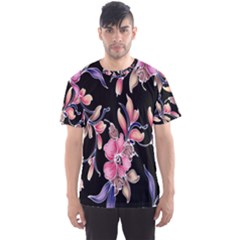 Neon Flowers Rose Sunflower Pink Purple Black Men s Sport Mesh Tee by Alisyart