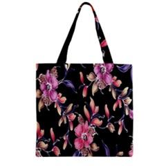 Neon Flowers Rose Sunflower Pink Purple Black Zipper Grocery Tote Bag