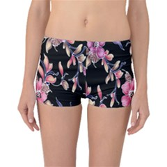 Neon Flowers Rose Sunflower Pink Purple Black Boyleg Bikini Bottoms by Alisyart