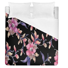 Neon Flowers Rose Sunflower Pink Purple Black Duvet Cover (queen Size) by Alisyart
