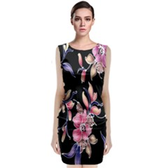 Neon Flowers Rose Sunflower Pink Purple Black Classic Sleeveless Midi Dress