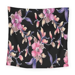 Neon Flowers Rose Sunflower Pink Purple Black Square Tapestry (large)