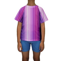 Pink Vertical Color Rainbow Purple Red Pink Line Kids  Short Sleeve Swimwear