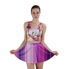 Pink Vertical Color Rainbow Purple Red Pink Line Mini Skirt