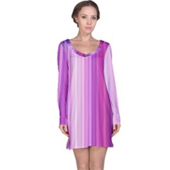 Pink Vertical Color Rainbow Purple Red Pink Line Long Sleeve Nightdress