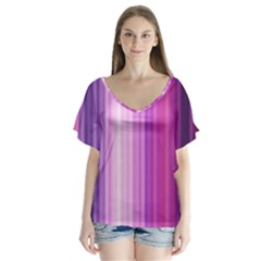 Pink Vertical Color Rainbow Purple Red Pink Line Flutter Sleeve Top