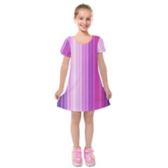 Pink Vertical Color Rainbow Purple Red Pink Line Kids  Short Sleeve Velvet Dress