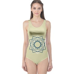 Shape Experimen Geometric Star Plaid Sign One Piece Swimsuit by Alisyart