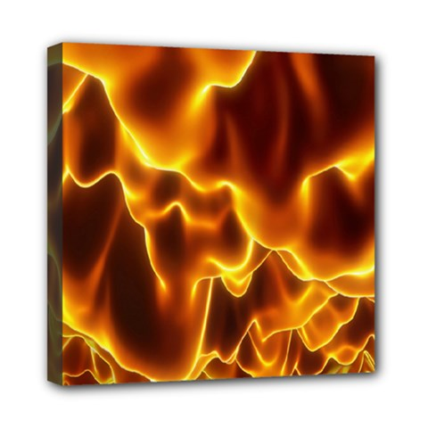 Sea Fire Orange Yellow Gold Wave Waves Mini Canvas 8  X 8  by Alisyart