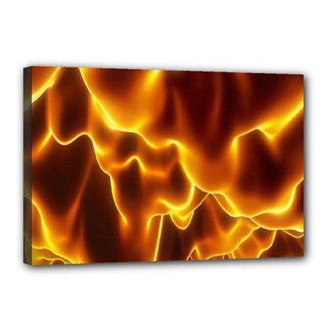 Sea Fire Orange Yellow Gold Wave Waves Canvas 18  X 12  by Alisyart
