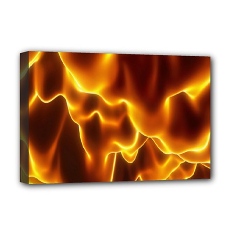 Sea Fire Orange Yellow Gold Wave Waves Deluxe Canvas 18  X 12   by Alisyart