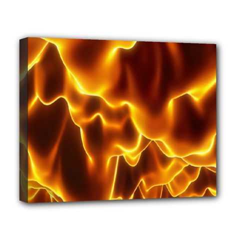 Sea Fire Orange Yellow Gold Wave Waves Deluxe Canvas 20  X 16   by Alisyart