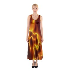 Sea Fire Orange Yellow Gold Wave Waves Sleeveless Maxi Dress