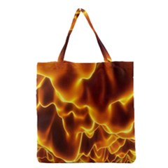 Sea Fire Orange Yellow Gold Wave Waves Grocery Tote Bag