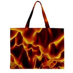 Sea Fire Orange Yellow Gold Wave Waves Mini Tote Bag by Alisyart