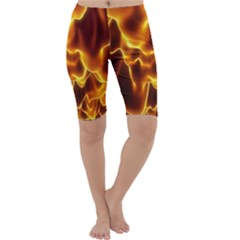 Sea Fire Orange Yellow Gold Wave Waves Cropped Leggings  by Alisyart