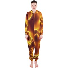 Sea Fire Orange Yellow Gold Wave Waves Hooded Jumpsuit (ladies)