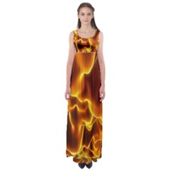 Sea Fire Orange Yellow Gold Wave Waves Empire Waist Maxi Dress