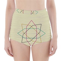Shape Experimen Geometric Star Sign High Waisted Bikini Bottoms