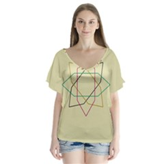 Shape Experimen Geometric Star Sign Flutter Sleeve Top