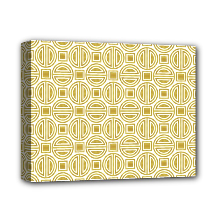 Gold Geometric Plaid Circle Deluxe Canvas 14  x 11