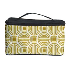 Gold Geometric Plaid Circle Cosmetic Storage Case by Alisyart