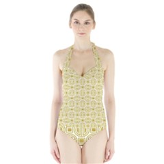 Gold Geometric Plaid Circle Halter Swimsuit by Alisyart