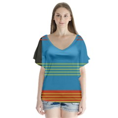 Sketches Tone Red Yellow Blue Black Musical Scale Flutter Sleeve Top