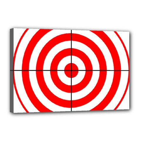 Sniper Focus Target Round Red Canvas 18  X 12  by Alisyart