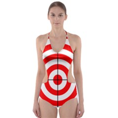 Sniper Focus Target Round Red Cut Out One Piece Swimsuit