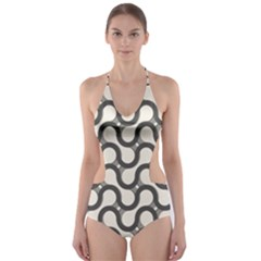 Shutterstock Wave Chevron Grey Cut Out One Piece Swimsuit