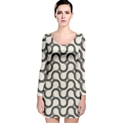 Shutterstock Wave Chevron Grey Long Sleeve Velvet Bodycon Dress by Alisyart