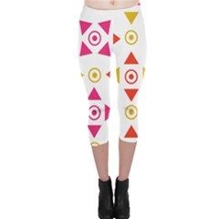 Spectrum Styles Pink Nyellow Orange Gold Capri Leggings