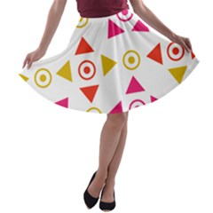 Spectrum Styles Pink Nyellow Orange Gold A Line Skater Skirt