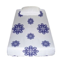 Snow Blue White Cool Fitted Sheet (single Size) by Alisyart