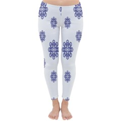 Snow Blue White Cool Classic Winter Leggings