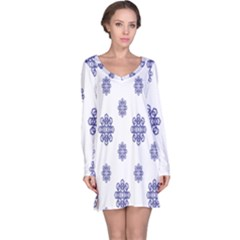 Snow Blue White Cool Long Sleeve Nightdress