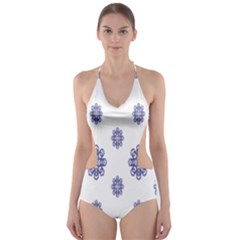 Snow Blue White Cool Cut-out One Piece Swimsuit by Alisyart