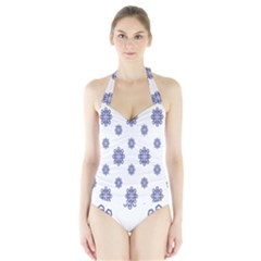 Snow Blue White Cool Halter Swimsuit by Alisyart