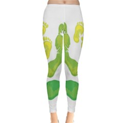Soles Feet Green Yellow Family Classic Winter Leggings