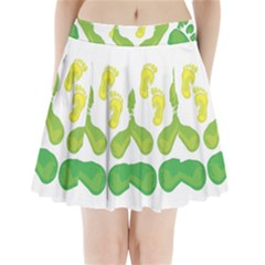 Soles Feet Green Yellow Family Pleated Mini Skirt by Alisyart