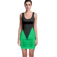 Soaring Mountains Nexus Black Green Sleeveless Bodycon Dress by Alisyart