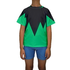 Soaring Mountains Nexus Black Green Kids  Short Sleeve Swimwear by Alisyart