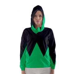 Soaring Mountains Nexus Black Green Hooded Wind Breaker (women) by Alisyart